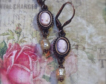 Rusty Iron Drops, Black and Cameo, Vintage Cameo, Hand Carved Cameo, Cameo & Pearl Drop, Chippy Shabby,Vintage Pearl, Gift Wrap,MockiDesigns