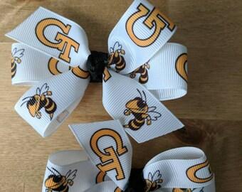 Set of two Georgia Tech Yellow Jackets Hair Bows