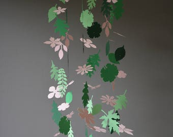 Flowers and leaves nursery mobile or baby mobile from soft pink and green shades card stock --- Handmade, Paper flowers nursery or babyroom
