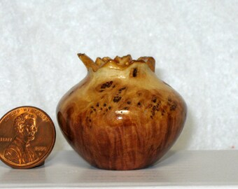 Natural Top Australian Greenstone Mallee Burl Turned Wood Miniature Pot