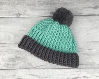 Mint and grey knitted hat, woollen hat, gender neutral baby, twin gift, newborn gift, toddler hat, adults beanie hat, gift for her, etsyuk