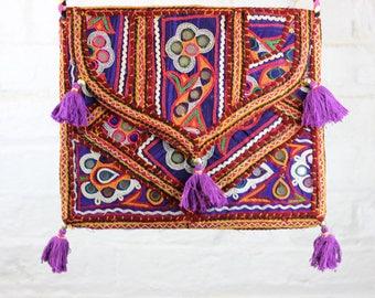 RAINBOW BAG - Ethnic bag- Over the shoulder bag- Boho Satchel- Indian Bag- Gypsy Bag- Shoulder Bag- Student- Vintage Bag- Embroidered