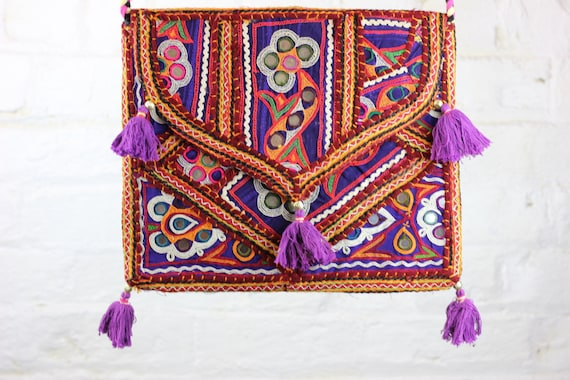 RAINBOW BAG - Ethnic bag- Over the shoulder bag- Boho Satchel- Indian Bag- Gypsy Bag- Shoulder Bag- Student- Vintage Bag- Embroidered