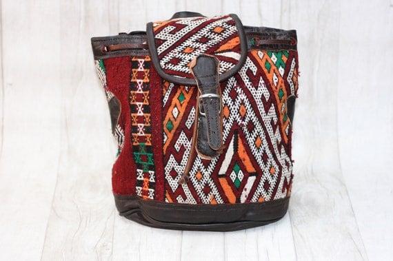 VINTAGE AZTEC RUCKSACK - Ethnic bag - Hippie rucksack - Boho Kilim Backpack - Embroidered Bag - Backpack - Carpet bag - Bespoke Bag - Gift