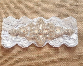Off white and silver garter, wedding garter, Embellished rhinestone bridal garter