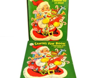 Santa's Fun Book Vintage 1954 Christmas Pop Up White Plains Greeting Card Corp Boxed 3-D Glasses
