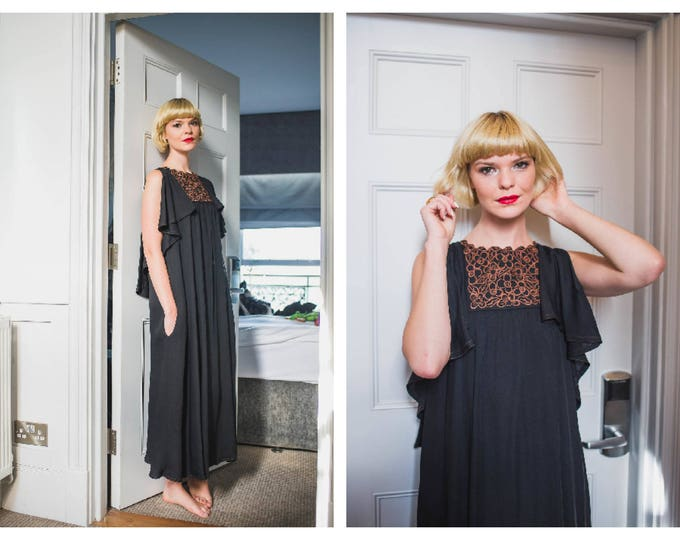 Vintage 70's 60s Black Jean Varon John Bates Caped Open Shoulder Midi Length Tent style Dress With Pockets and Bround Embroidery S M