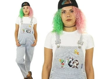 ON SALE Looney Tunes 90s Striped Overalls, Vintage 90s Warner Bros Overalls, Blue Patched Overalls, Grunge, Women's Size X-Small/Small