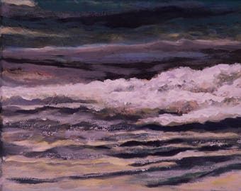 Close to the shoreline. Beautiful, original, one of a kind, seashore painting on canvas.