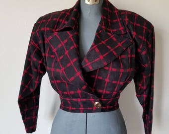 Vintage 1980's Black and Red Checked Wool Blend Jacket
