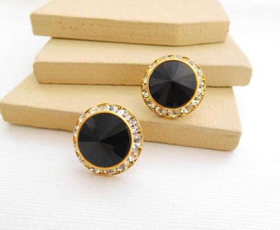 Vintage Glam Clear Crystal Channel Set Rhinestone Black Dome Earrings II11