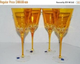 on sale Vintage Italian crystal wine glasses Le Stelle crystal    amber yellow tall cocktail glasses