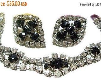 Black & White Rhinestone Bracelet Earring Set Link Style Clip Ons Silver Metal Vintage