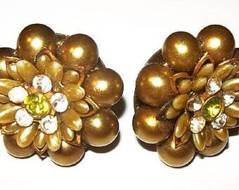 "Olive Green Cluster Earrings Glass Beads & Rhinestones Gold Metal Clip On's 1 1/8"" Vintage"