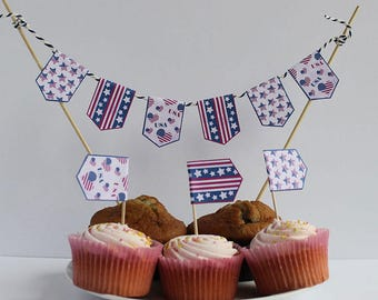 Vintage USA Cupcake Flags cake toppers Independence Day 4th July Cake Bunting Stars Stripes  thanksgiving toothpick flags Instant Download