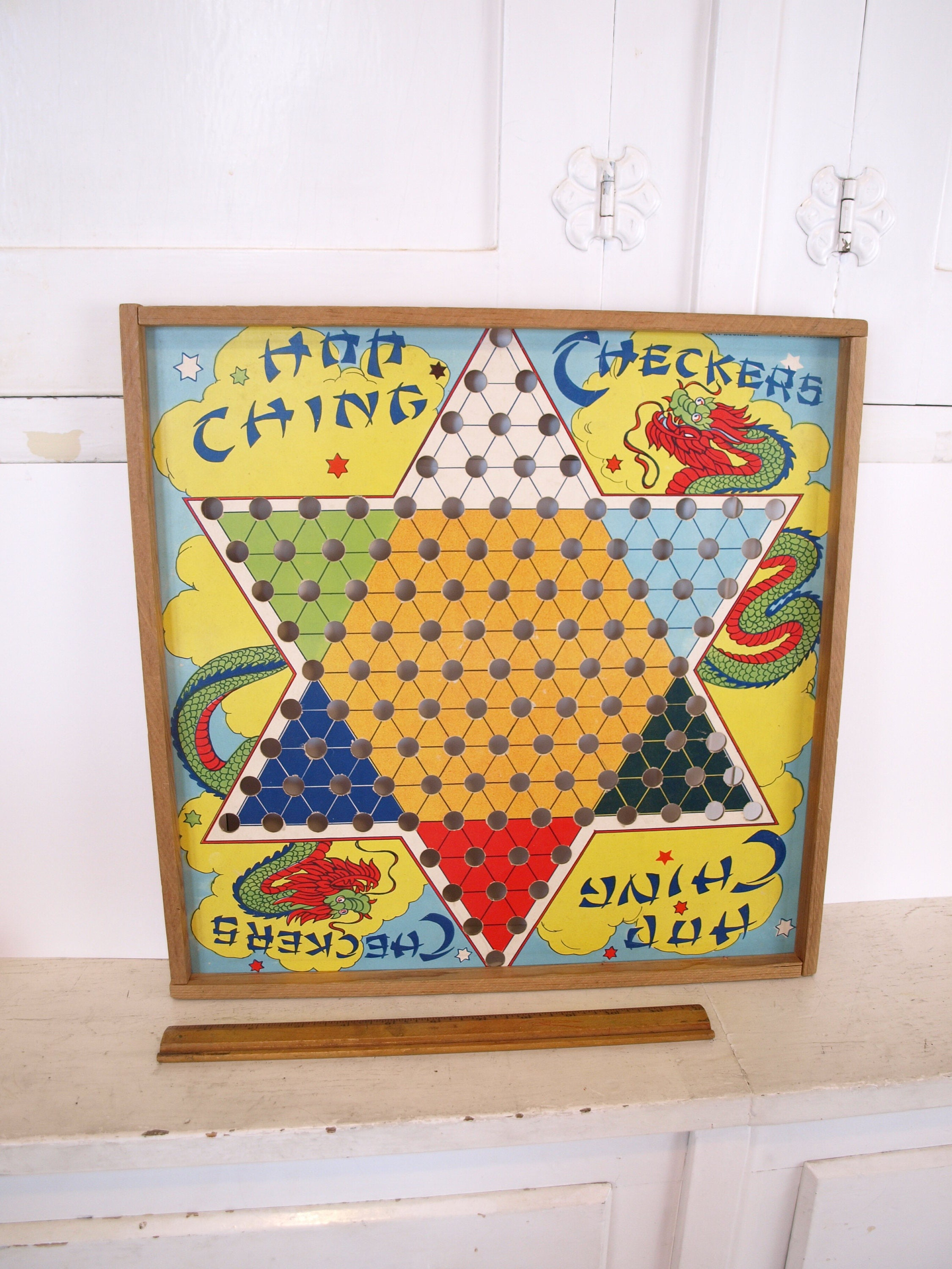 Vintage colorful 60s 70s Chinese checkers board game wood framed ...