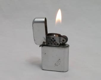 1960s BOWERS STORM MASTER Flip-Top Lighter - Zippo Clone - Rebuilt with new wick, flint - working like new - Aluminum case, Super clean
