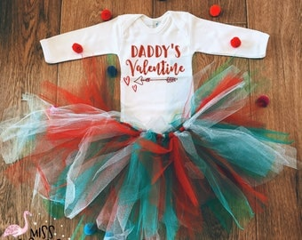Valentines Day Outfit, Daddy Girl Valentines Outfit, Newborn Valentines Outfit, Daddy's Valentine, Baby Girl Valentine Day Outfit