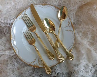FREE SHIPPING Gorgeous 69 piece set of Roger's Golden Royal Plume (Gold Electroplate) Stainless Flatware