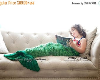 SUMMER SALE Mermaid Tail Blanket Cocoon - Fin Back Flap Toddler Adult Teen Child