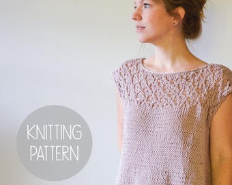 KNITTING PATTERN - lace summer knit top - AWAKEN knit top