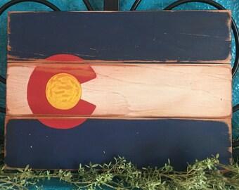 Handmade Wood Colorado Flag