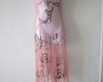 Pink Bead and Sequin Sheer Dress