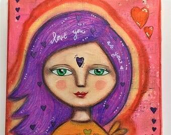 Self Love Art Work. Mixed media artwork. Original Art for Sale, Original Art Work, Fine Art, Original Painting, Gift Women