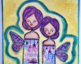 Pretty Pair of Aura Angels Art Work. Mixed media artwork. Original Art for Sale, Original Art Work, Fine Art, Original Painting, Gift Women
