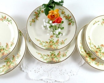 6 Vintage Bread and Butter Plates by Taylor Smith & Taylor, Orange Snowball Flowers, Circa 1942 Discontinued Pattern, Replacement China