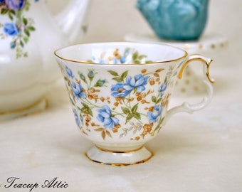 Royal Albert Blue Gown Replacement Teacup, English Bone China Tea Cup Only Rose Chintz Series Blue Gown, Orphan Teacup, ca. 1980