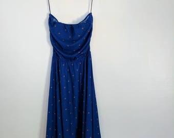 Vintage strapless Samuel Blue dress