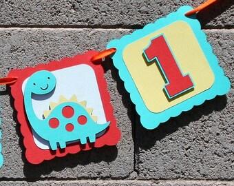 Dinosaur Happy Birthday Banner. Photo Prop. Orange, Yellow and Aqua Dino Banner