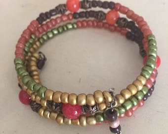 Red Dyed Quarzite Beaded 3 Loop Memory Wire Wrap Bracelet