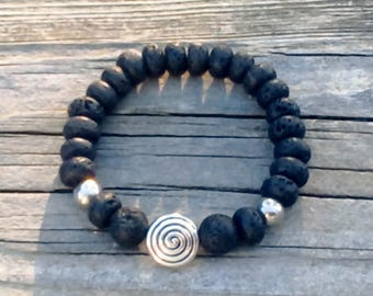 Natural Lava Rock and Stainless Steel Beaded Stretch Bracelet in multiple sizes