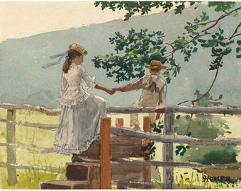 Winslow Homer Watercolor Reproductions. On the Stile, c. 1878. Fine Art Print.