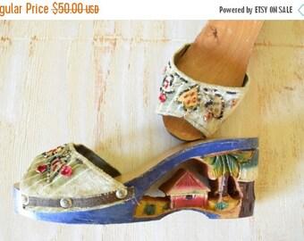 25% OFF SALE Vintage 1940's Wood Sandals | Resort Sandal |  Souvenir Wood Platforms