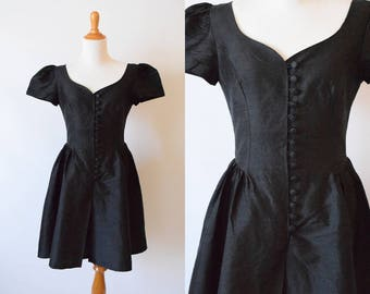 Vintage 1980's Laura Ashley Black Silk Dress | Little Black Dress