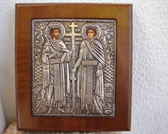 vintage 950 silver Greek icon,Konstaninos & Eleni, Byzantine exact copy,Constantine,Helen, Greek saints,wood,silver plaque