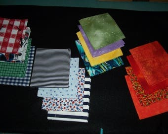 4 Fat Quarters in Beautiful Hues...Each 22 x 18 Inches..Cottons..Sets of Coordinating  Colors and Designs..Oranges..Picnic Designs..Blues..