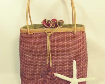 1990's Woven Wicker Basket Handbag