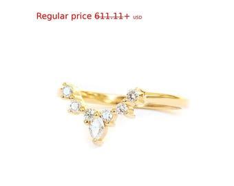 Summer Sale! Romi Unique Diamond Side Wedding Band - Diamond V Ring, Engagement Ring Side Band - Nesting Ring  - Diamond 14K Gold Band Ring