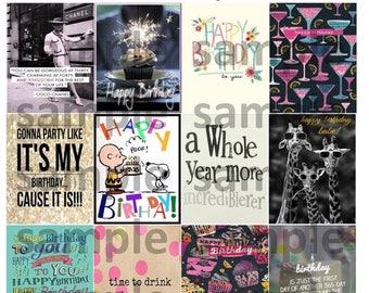 Birthday, Quotes, #2-2, Planner Stickers, Birthday, Cake, Cat, Wish, Balloons, WIne, Celebrate, Presents, ECLP, Plum Paper Planner