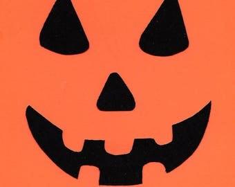 Halloween pumpkin jack o lantern face iron on applique DIY