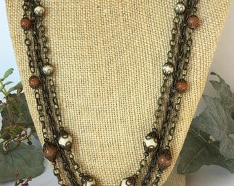 Handmade multistrand semiprecious gemstones and antique brass necklace, aventurine and fossil stone round beads,vintage, boho, casual