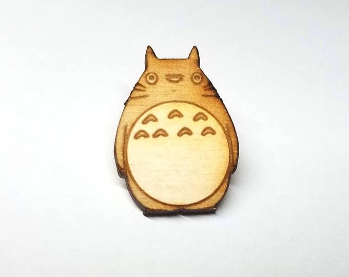 Totoro Wood Pin | Laser Cut Jewelry | Wood Accessories
