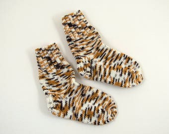 Knitted Wool Socks - Brown, Black and White, Size Extra Small