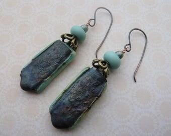 handmade green lampwork and ceramic copper earrings UK jewellery