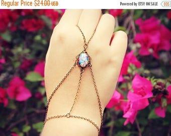 VACATION SALE pink opal filigree slave bracelet, ring bracelet, slave ring, unique bracelet, opal ring