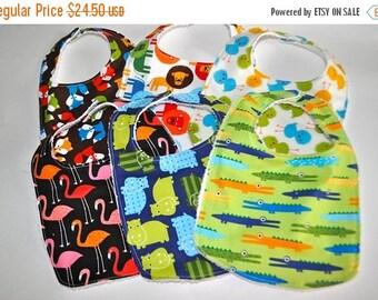 ON SALE 6 Zoo animal Baby bibs,  Zoo animal Bibs, Jungle animal bibs, Fox baby bib, 6 bibs in Animal prints, Alligator bib, Hippo bibs, Flam